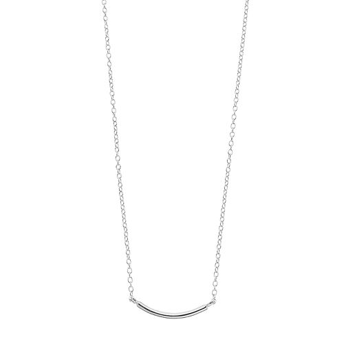 love this lifeSterling Silver Curved Bar Necklace