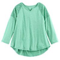 Girls Plus Size SO® Crochet Lace Shoulder Top