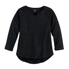 Girls Plus Size SO® Crochet Lace Shoulder Top