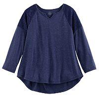 Girls 7-16 Size SO® Crochet Lace Shoulder Top