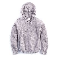 Girls Plus Size Mudd® Lace-Up Chenille Sweater Hoodie