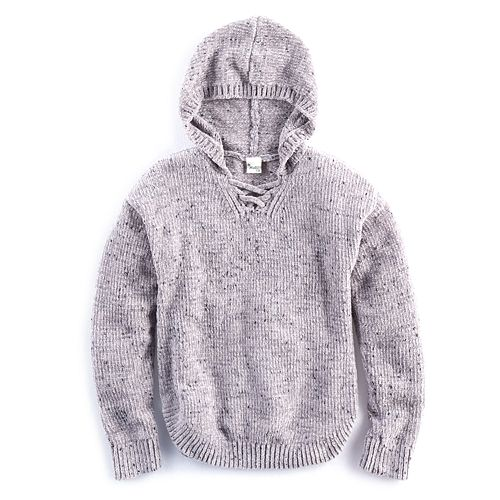 Girls Plus Size Mudd Lace Up Chenille Sweater Hoodie