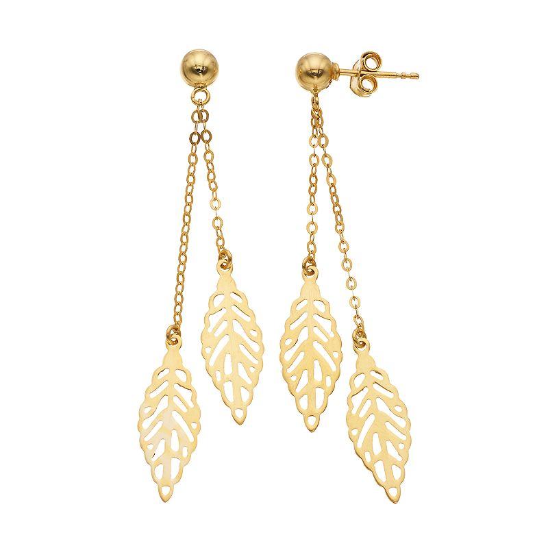 14k Gold Leaf Dangle Drop Earrings Women S Thumbnail