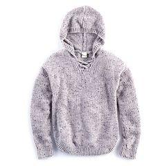 Girls 7-16 Size Mudd® Lace-Up Chenille Sweater Hoodie