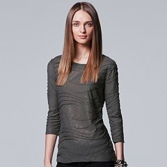 Petite Simply Vera Vera Wang 3/4 Sleeve Foil Windy Tee