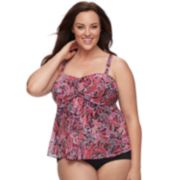 Plus Size A Shore Fit Tummy Slimmer Mesh Tankini Top