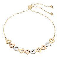 Tri-Tone 14k Gold Heart Link Bolo Bracelet