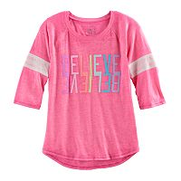 Girls 7-16 & Plus Size SO® Striped 3/4-Sleeve Graphic Tee