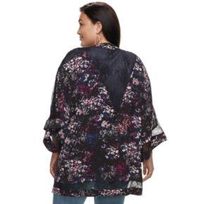 Plus Size Jennifer Lopez Lace Floral Kimono