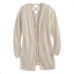 Girls 7-16 Size Cloud Chaser Lace-Up Back Cardigan Sweater