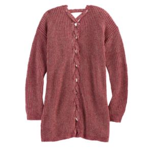 Girls Plus Size Cloud Chaser Lace-Up Back Cardigan Sweater