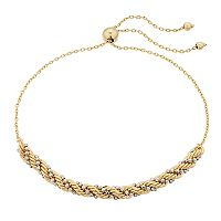 Two Tone 14k Gold Rope Chain Bolo Bracelet