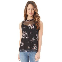 Juniors' IZ Byer Point D'esprit Sleeveless Top