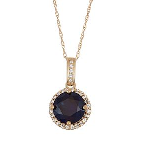 10k Gold Lab-Created Blue & White Sapphire Halo Pendant Necklace