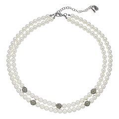 Simply Vera Vera Wang Simulated Pearl & Simulated Crystal Double Row Necklace