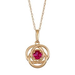 10k Gold Lab-Created Ruby Knot Pendant Necklace