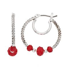 Napier Beaded Double Hoop Earrings