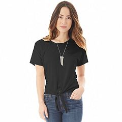 Juniors' IZ Byer Cross-Back Tie-Front Tee