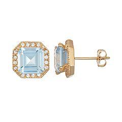 10k Gold Lab-Created Aquamarine & White Sapphire Octagon Stud Earrings
