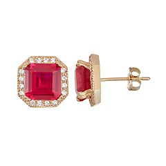 10k Gold Lab-Created Ruby & White Sapphire Octagon Stud Earrings