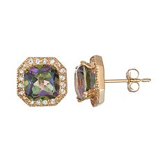 10k Gold Mystic Topaz & Lab-Created White Sapphire Octagon Stud Earrings