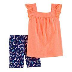 Baby Girl Carter's Slubbed Pom-Trim Top & Print Bike Shorts Set