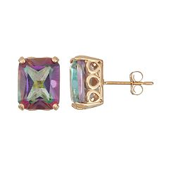 10k Gold Mystic Topaz Rectangle Stud Earrings