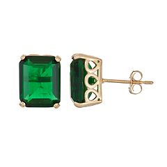 10k Gold Simulated Emerald Rectangle Stud Earrings