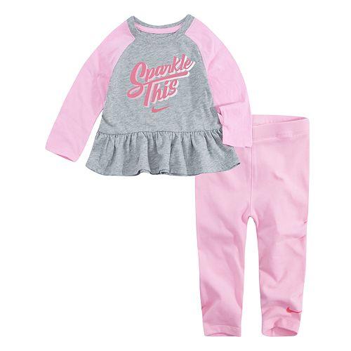 "Baby Girl Nike ""Sparkle This"" Peplum Top & Leggings Set"