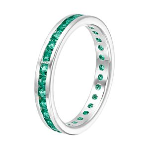 Traditions Sterling Silver Channel-Set Lab-Created Emerald Birthstone Ring