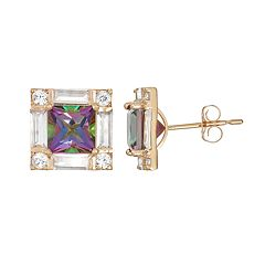 10k Gold Mystic Topaz & Lab-Created White Sapphire Square Stud Earrings