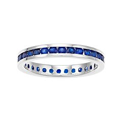 Traditions Sterling Silver Channel-Set Lab-Created Sapphire Birthstone Ring