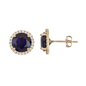 10k Gold Lab-Created Blue & White Sapphire Halo Stud Earrings
