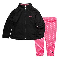 Baby Girl Nike Jacket & Pink Polka-Dot Leggings Set