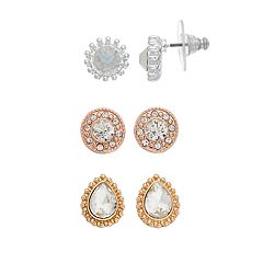 Napier Tri Tone Simulated Crystal Stud Earring Set