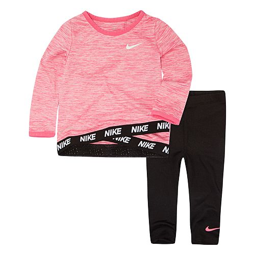Baby Girl Nike Dri-FIT Pink Tunic Top   Leggings Set f1703afd1