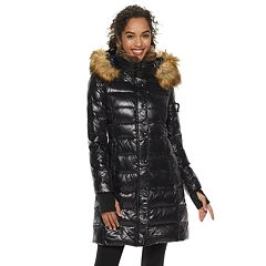 Women's S13 Faux-Fur Hooded Glossy Down Puffer Coat