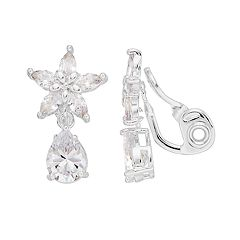 Napier Cubic Zirconia Floral Clip-On Earrings