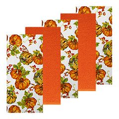 Celebrate Fall Together Pumpkin Toss Kitchen Towel 5-pack