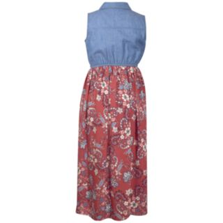 Girls 7-16 Bonnie Jean Chambray Romper with Attached Maxi Skirt
