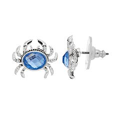Napier Crab Simulated Crystal Stud Earrings