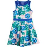 Girls 7-16 Lavender Pique Knit Floral Print Dress