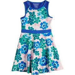 Girls 7-16 Lavender Pique Knit Floral Print Dress
