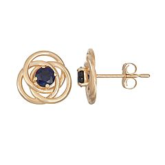 10k Gold Lab-Created Sapphire Knot Stud Earrings