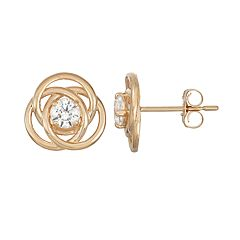 10k Gold Lab-Created White Sapphire Knot Stud Earrings