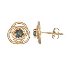 10k Gold Lab-Created Mystic Topaz Knot Stud Earrings