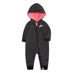 Baby Girl Nike Black & White Polka-Dot French Terry Hooded Coverall