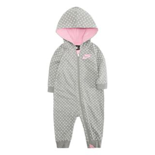 Baby Girl Nike Polka-Dot French Terry Hooded Coverall