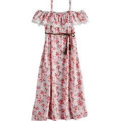 Girls 7-16 Lavender Belted Floral Print Maxi Dress