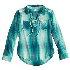 b6cd71ee9e4 Girls 7-16   Plus Size Mudd® Lace-Up Popover Chambray Shirt